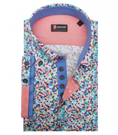 Shirt Roma Poplin Water Green and Light Turquoise
