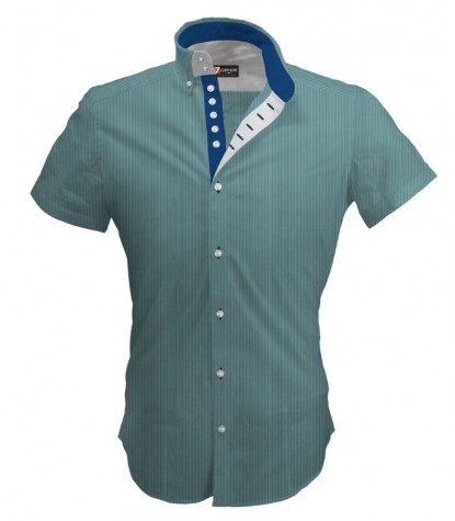 Shirt Marco Polo Cotton Polyester Water Green and White