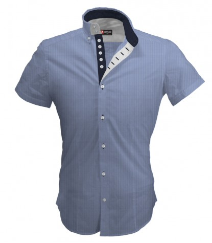 Shirt Marco Polo Cotton Polyester Light BlueWhite