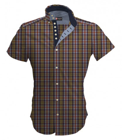 Shirt Marco Polo Cotton Polyester Brick and Yellow Ocher