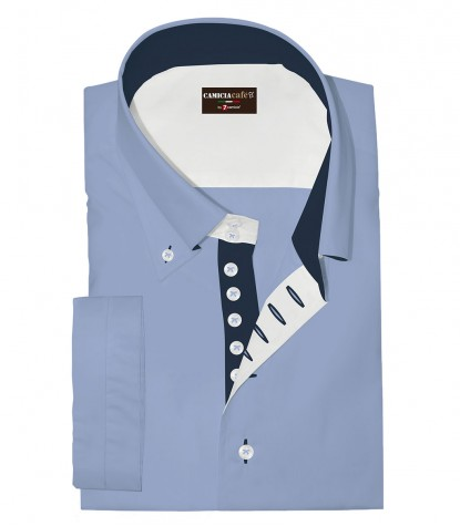 Shirt Marco Polo Cotton Polyester Light Blue