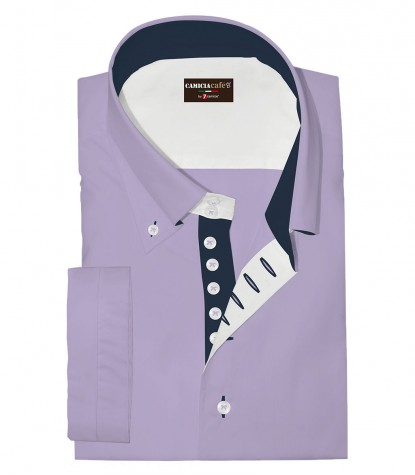 Chemises Marco Polo Coton Polyester Lilas