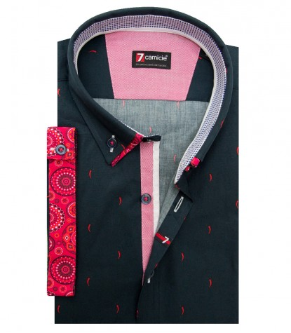 Shirt Leonardo Poplin Dark Blue and Red