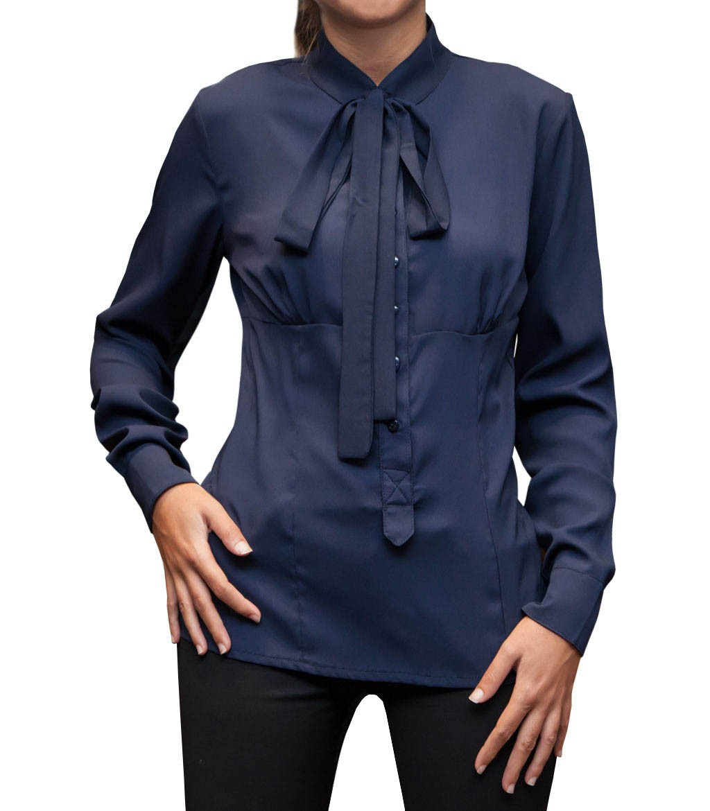Shirt woman long sleeve whitout button slim polyester full for Polyester button up shirt