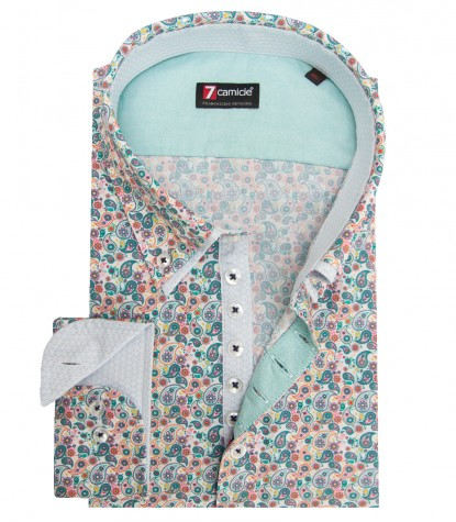 Shirt Donatello Poplin white and Emerald
