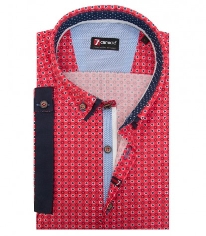 Shirt Leonardo Cotton Coral Red Avion Blue