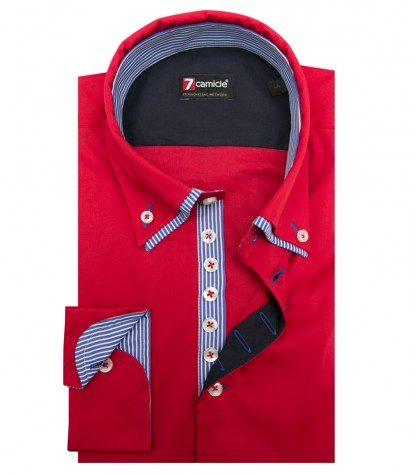 Shirt Donatello stretch poplin Red