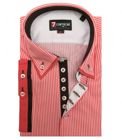 Shirt Donatello Satin Coral White