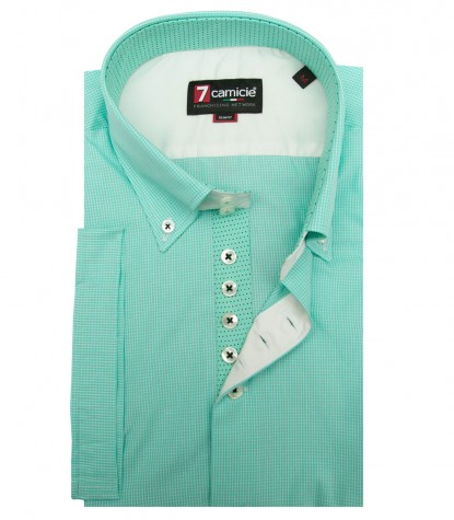 Shirt Roma Poplin Water Green and White