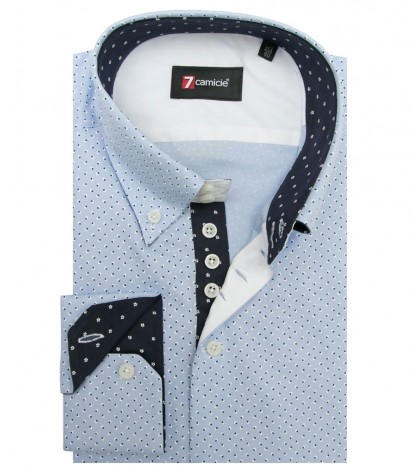 Camicia Roma Super oxford Celeste e Avion