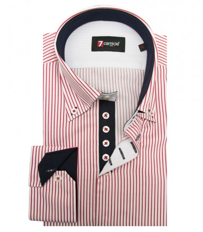 Shirt Roma Satin WhiteRed