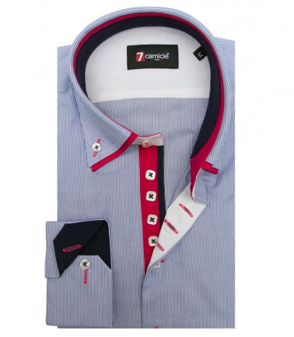 Shirt Marco Polo Cotton WhiteBlue