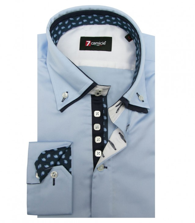 Shirt Marco Polo Satin Light Blue