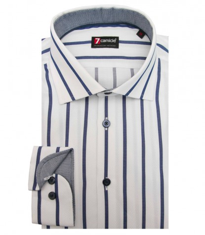 Shirt Firenze Weaved White and Blue
