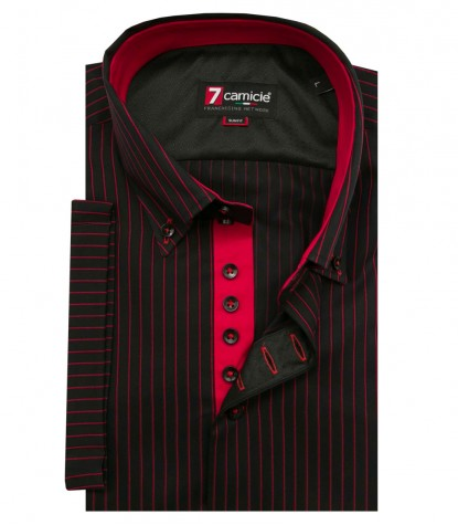 Shirt Roma Satin BlackRed