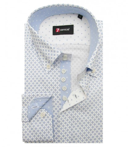 Camisas Roma súper oxford White Avion Blue