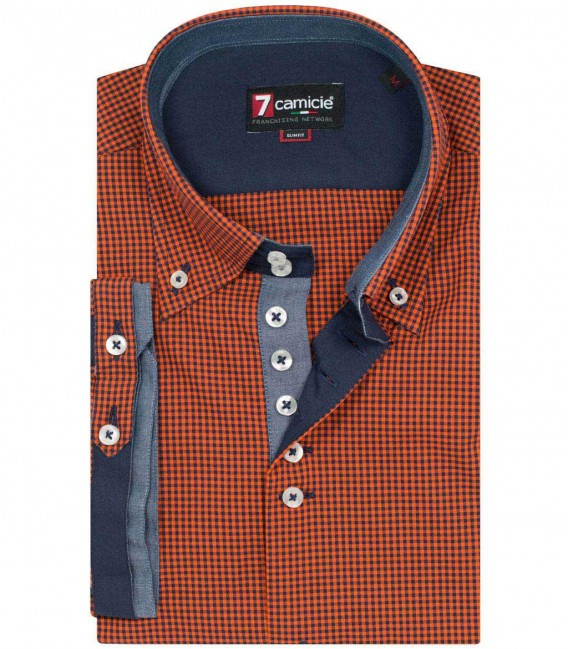 Shirt Roma Poplin orange and blue