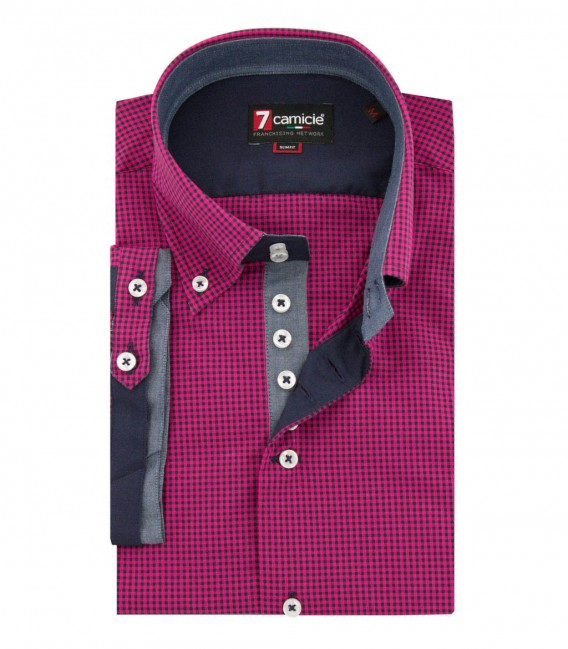 Shirt Roma Poplin fluorescent pink and Blue
