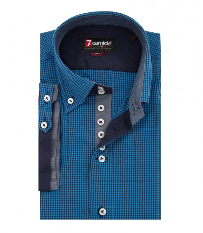 Shirt Roma Poplin Blue and blue