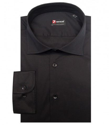 1 button French shirt in black Satin