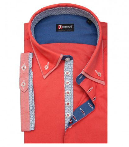 Camicia Donatello Popeline stretch Corallo