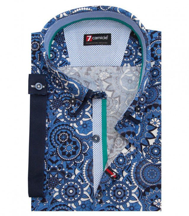 Shirt Leonardo Cotton Medium Blue and Dark Blue