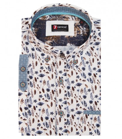 Shirt Men printed White and Blue