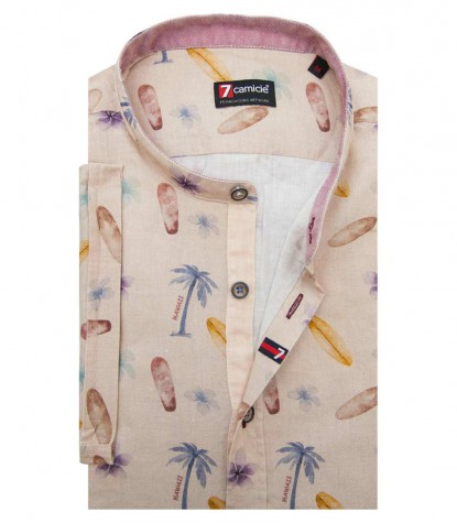 Shirt Caravaggio Cotton Beige and Avion