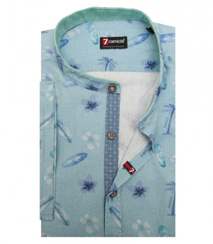 Shirt Caravaggio Cotton Sage Green and Avion