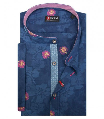 Shirt Caravaggio jacquard Blue Cyclamen Purple