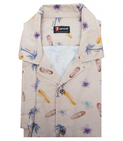 Camicia HAWAII Cotone Beige e Avion