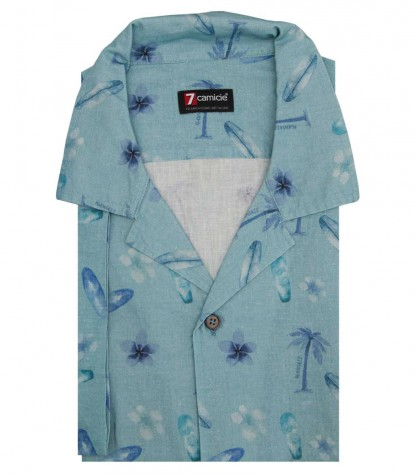 Camicia HAWAII Cotone Verde Salvia e Avion
