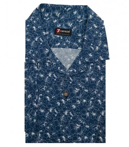 Shirt Hawaii Cotton Dark Blue and White