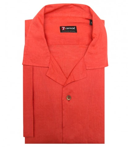 Shirt Hawaii Linen Coral