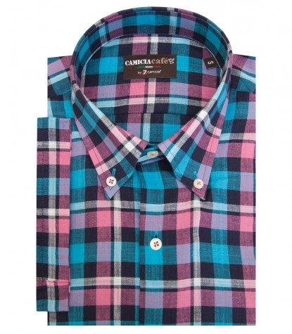 Shirt Leonardo Cotton Polyester Turquoise and Fuxia
