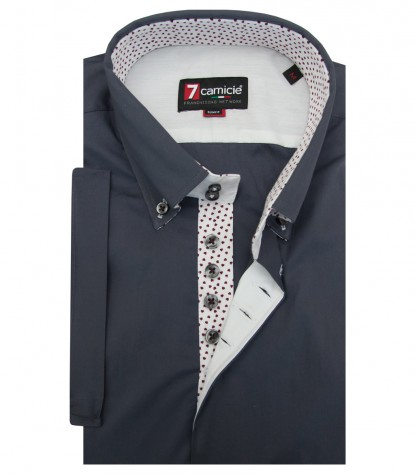 Shirt Roma stretch poplin Dark Grey