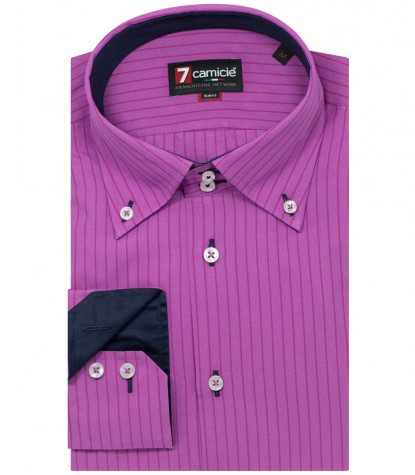 Shirt Roma Poplin orchid and Cyclamen