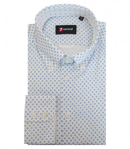 Shirt Roma Super oxford White Avion Blue