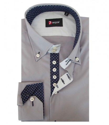 Shirt Roma stretch poplin Medium grey
