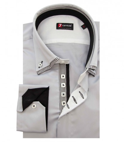 Shirt Marco Polo Satin Light Grey