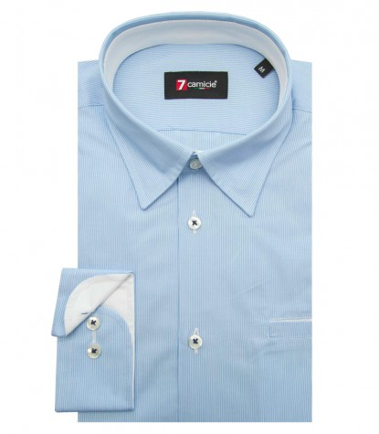 Shirt Tiziano Cotton Light BlueWhite