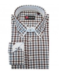 Camicia Marco Polo twill BIANCO E MARRONE