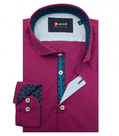 Shirt Firenze Poplin fluorescent pink and Blue