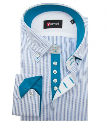 Shirt Roma Cotton WhiteLite Blue