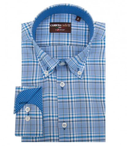 Shirt Leonardo Cotton Polyester Light BlueWhite