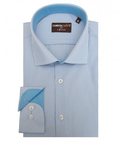 Shirt Firenze Cotton Polyester Light BlueWhite