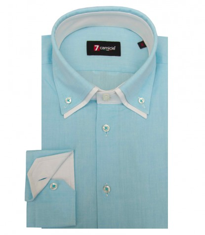 Chemises Marco Polo super oxford turquoise clair