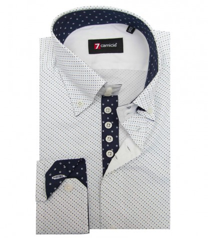 Chemises Roma super oxford White Avion Blue