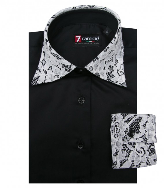 Shirt Linda Satin Black White