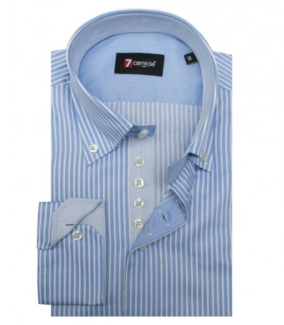 Shirt Roma Satin Light Blue White